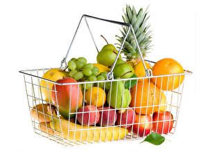Picture Fruit Grapes Orange fruit Pears Apples Peaches Wicker basket