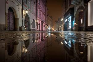 Wallpaper Prague Czech Republic Houses Street Night Street lights Puddle Cities