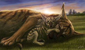 Wallpaper Wolves Painting Art Cubs Two Animals