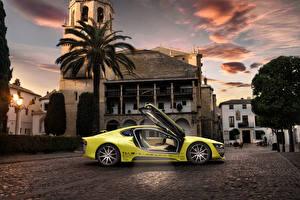 Desktop wallpapers BMW Building Yellow 2015 Rinspeed Etos concept (BMW i8) automobile
