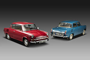 Pictures Skoda Retro Two Red Light Blue Metallic  Cars