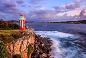 Fotos Landschaftsfotografie Australien Meer Leuchtturm Küste Steine Sydney Wolke Hornby Lighthouse Natur