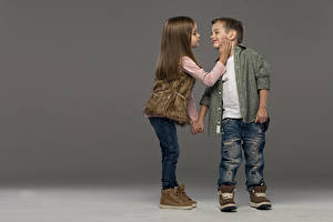 Pictures Boys Little girls Two Jeans Boots Formal shirt Brown haired Children