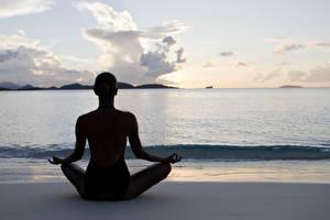 Fonds d'écran Mer Position du lotus Yoga Silhouette Nature Filles