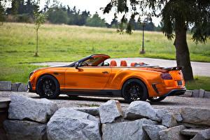 Bilder Bentley Cabrio Orange Seitlich 2015 Mansory Continental GTC Autos