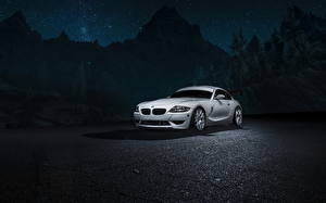 Pictures BMW Night time White Z4M Cars