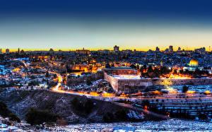 Hintergrundbilder Israel Haus Tempel Nacht Jerusalem