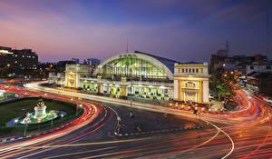 Sfondi desktop Bangkok Thailandia Di notte Movimento Hua lamphong, train station