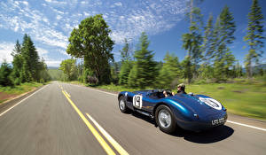Bilder Jaguar Fahrendes Blau Cabriolet 1951 C-Type Autos