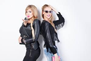 Wallpaper Blonde girl 2 Jacket Glasses Girls