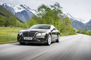 Wallpaper Mountain Bentley Moving Black 2015 Continental GT auto