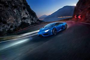 Picture Lamborghini Blue Moving Novitec Torado Huracan Cars