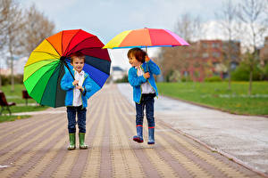 Pictures Boys 2 Parasol Jacket Wearing boots child
