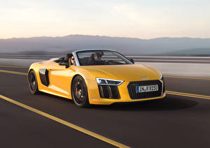 Wallpapers Audi Yellow Cabriolet Driving Metallic 2016 R8 Spyder V10 auto