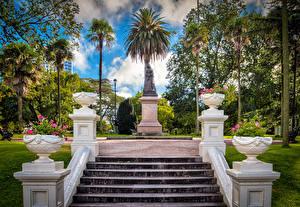 Bilder Australien Park Denkmal Melbourne Treppe Palmen Bäume Albert Park Natur