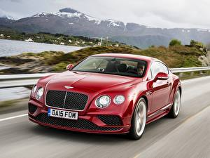 Pictures Bentley Red Driving 2015 Continental GT automobile