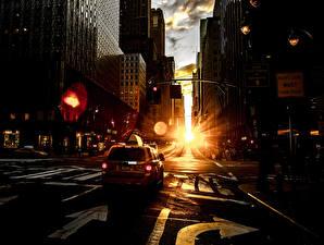 Sfondi desktop Alba e tramonto Taxi - Auto La casa Strade Via della città Città