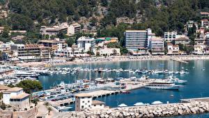 Hintergrundbilder Spanien Küste Haus Schiffsanleger Mallorca Port de Soller