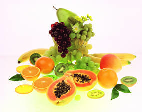 Image Fruit Grapes Pears Peaches Orange fruit Bananas Chinese gooseberry Food