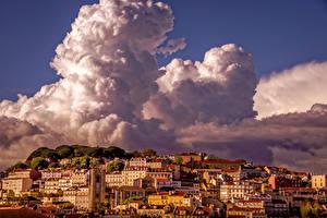 Tapety na pulpit Domy Niebo Lizbona Chmury