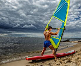 Pictures Surfing Coast Man Shorts Clouds Beach athletic