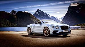 Bilder Bentley Gebirge Weiß Cabriolet 2015 Continental GT Autos