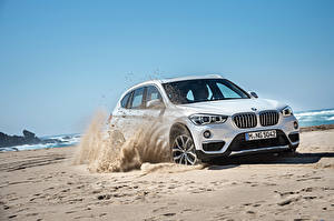 Desktop wallpapers BMW Sand Beaches White 2015 X1 xDrive xLine F48 auto