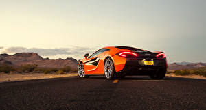 Wallpaper McLaren Orange Back view 2015 570S Coupe auto