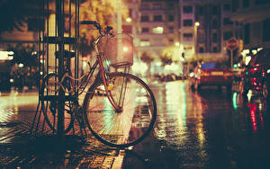 Images Bike Night time Street Cities