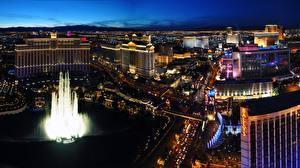 Bilder Vereinigte Staaten Haus Wege Springbrunnen Las Vegas Nacht