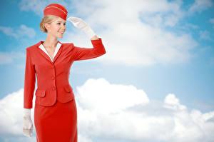 Fotos Blond Mädchen Uniform Flugbegleiter Lächeln Wolke
