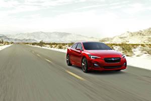Fotos Wege Subaru Rot Fahrendes Limousine , Impreza, Sedan, Concept Autos