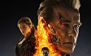 Bureaubladachtergronden Terminator Genisys Emilia Clarke Arnold Schwarzenegger Gezicht film Beroemdheden