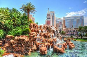 Bilder Wolkenkratzer Steine Nevada Las Vegas Palmen HDR
