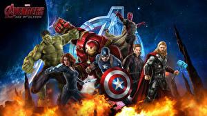 Bilder Avengers: Age of Ultron Robert Downey Jr Chris Hemsworth Chris Evans Scarlett Johansson Iron Man Held Thor Held Hulk Held Krieger Mann Superhelden Captain America Held Vision Film Fantasy Prominente