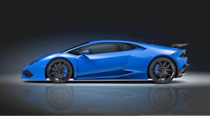 Wallpaper Lamborghini Side Blue Novitec Torado Huracan Cars
