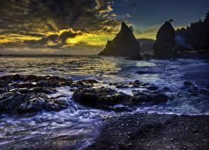 Hintergrundbilder Sonnenaufgänge und Sonnenuntergänge Küste Ozean USA Washington HDRI Rialto Beach, Olympic National Park Pacific Natur