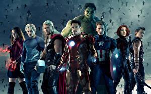 Bilder Avengers: Age of Ultron Robert Downey Jr Chris Hemsworth Chris Evans Scarlett Johansson Iron Man Held Thor Held Hulk Held Captain America Held Superhelden Mann Krieger Film Prominente Fantasy