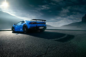 Fotos Lamborghini Blau Hinten Asphalt Novitec Torado Huracan Autos