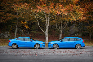 Image Volvo Light Blue Two Metallic Side Cars