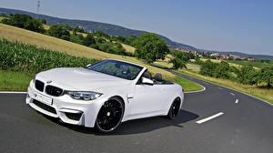 Hintergrundbilder BMW Weiß Cabriolet Fahrendes 2015 mbDESIGN M4 F83 auto