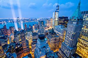 Bilder Wolkenkratzer Haus USA New York City Von oben Nacht Städte