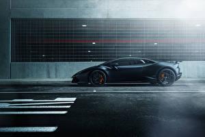 Hintergrundbilder Lamborghini Seitlich Schwarz Huracan Autos