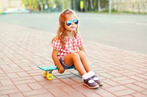 Picture Skateboard Little girls Legs Eyeglasses Children