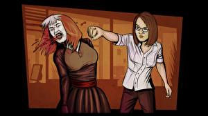 Hintergrundbilder Zwei Schlägerei Schlagen One Late Night computerspiel Mädchens
