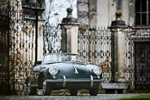 Hintergrundbilder Porsche Retro Graue Cabriolet Roadster 1959-61 Porsche 356B 1600 S Roadster by D'ieteren Freres (T5) automobil