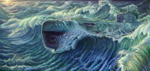 Wallpaper Submarines Painting Art Waves Type XXI submarine military