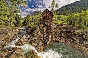 Hintergrundbilder Vereinigte Staaten Gebirge Steine Bäume HDRI Crystal Mill, Crystal, Colorado, Crystal River Natur