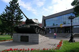 Bilder Russland Panzer Denkmal T-34 T-34-85, Barnaul