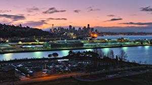Hintergrundbilder Vereinigte Staaten Haus Schiffsanleger Seattle Nacht